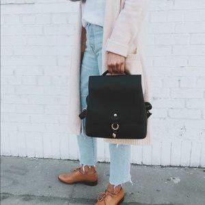 Minimalist Vegan Leather Mini Backpack  Bag